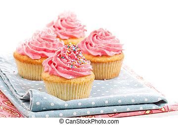 cupcakes, met, glazuur, en, bestrooit