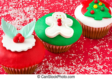 cupcakes, natal, vermelho