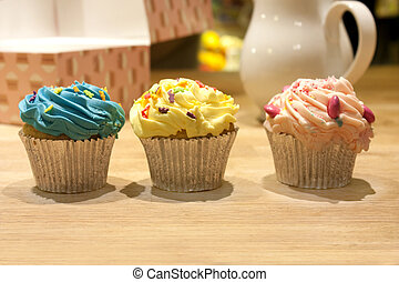 cupcakes on a kitchen worktop