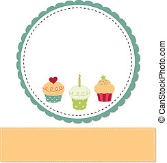 Cupcakes on a retro template copy space for text and ...