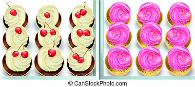 Cupcakes on a white table. Summer delicious desserts...