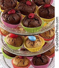 Cupcakes on glass etagere