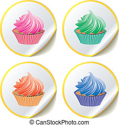 cupcakes on paper stickers