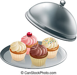 Cupcakes on silver platter - Illustration of different...