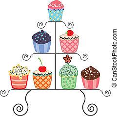 cupcakes, op, een, stander