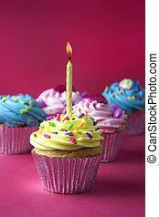 cupcakes, op, rood