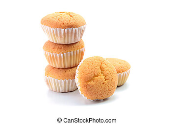 Cupcakes or Muffin cake on white background