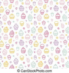 Cupcakes outlined colorful seamless pattern on white background