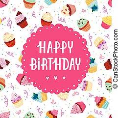 Cupcakes, patrón, saludo,  seamless, cumpleaños, feliz