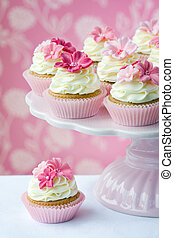 Cupcakes - Pink flower cupcakes on a cakestand