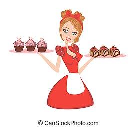 cupcakes, pino, dona de casa, chocolate, servindo