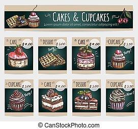 cupcakes, postre, precio, vector, tarjetas, pasteles