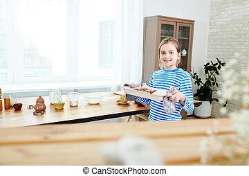cupcakes, preparar, mãe