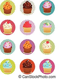 cupcakes printable sheet in circles - vector illustrations...