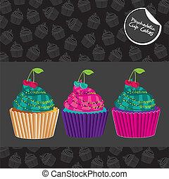 cupcakes, psichedelico, set