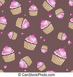 Cupcakes seamless - A vector illustration of pink cupcakes...