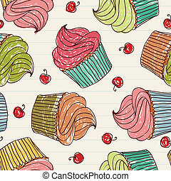 Cupcakes seamless pattern - Seamless pattern made of...