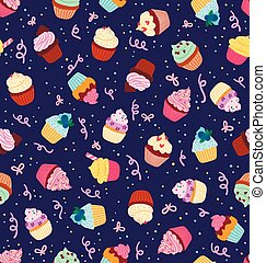 Cupcakes seamless pattern on deep blue background