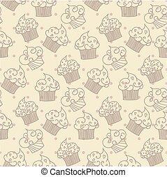 Cupcakes seamless pattern. Vector design
