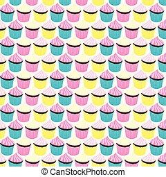 Cupcakes seamless retro style pattern