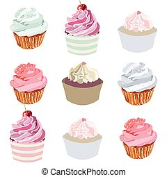 Cupcakes set collection