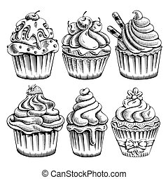 Cupcakes set - Set of sweet bakery decorated cupcakes hand...