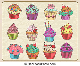 Hand drawn sketchy set of cupcakes on a wrinkled paper.