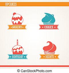 Cupcakes set.