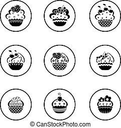 Cupcakes set - Vector illustration. It is created in the ...