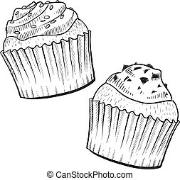 Cupcakes sketch - Doodle style cupcakes with frosting...