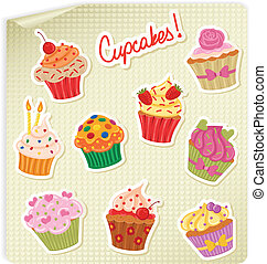 Cupcakes Stickers Set