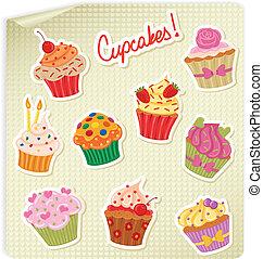 Cupcakes Stickers Set