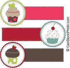 cupcakes, su, uno, retro, sagoma