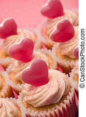 cupcakes, su, valentines, chiudere