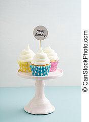 cupcakes, tři, narozeniny, šťastný