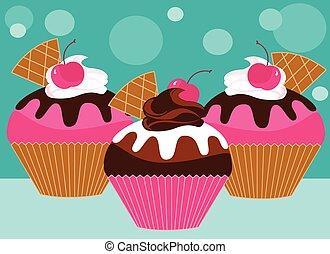 cupcakes, tre, rosa