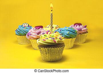 cupcakes, und, kerzen