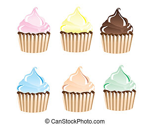 Cupcakes - A vector illustration of frosted cupcakes in...