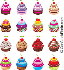 Cupcakes - Vector illustration, color full