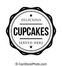Cupcakes vintage stamp vector