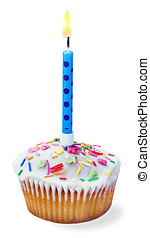 cupcakes with a birthday candle isolated