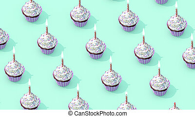 Many cupcakes proposed at will for the most greedy and for the greatest pleasure of our eyes and our taste buds. 3D rendering