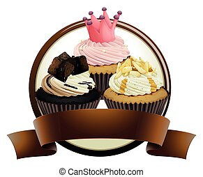 Cupcakes with brown banner