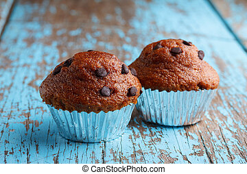 Cupcakes with chocolate chips close up