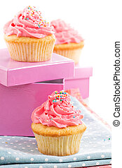 Cupcakes with frosting and sprinkles - Cupcakes with pink...