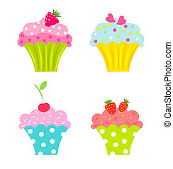 Set of cupcakes with cream and fruits - vector illustration