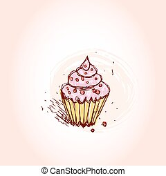 Cupcakes with pink cream Hand drawn sketch on pink background. vector