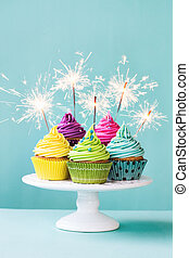Cupcakes with sparklers