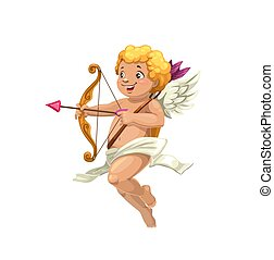 Cupid aiming with arrow and bow at love heart