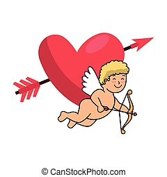 cupid and heart with arrow isolated icon